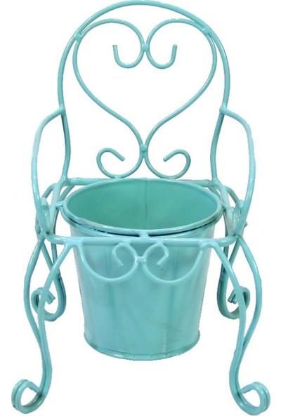Dekorsende Ferforje Tekli Sandalye Saksı Mavi