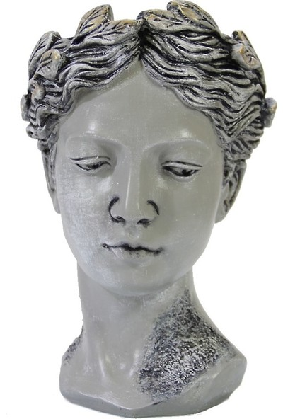 Dekorsende Kadın Büst Saksı Büyük Gri