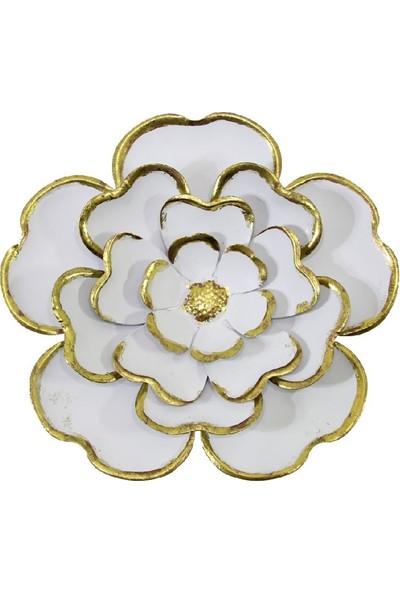 Dekorsende Çiçek Duvar Objesi Beyaz