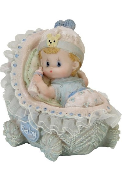 Dekorsende Beşikte Bebek Biblo Mavi