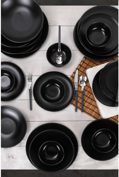 Keramika Mat Siyah Gama Yemek Takımı 24 Parça 6 Kişilik