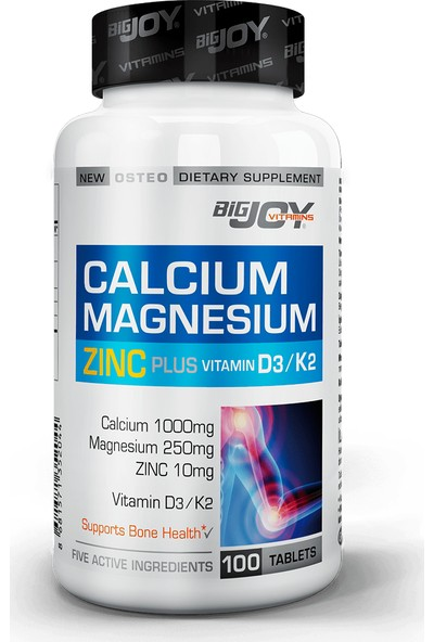 Bigjoy Vitamins Calcium Magnesium Zinc Plus 100 Tablet BİG352044