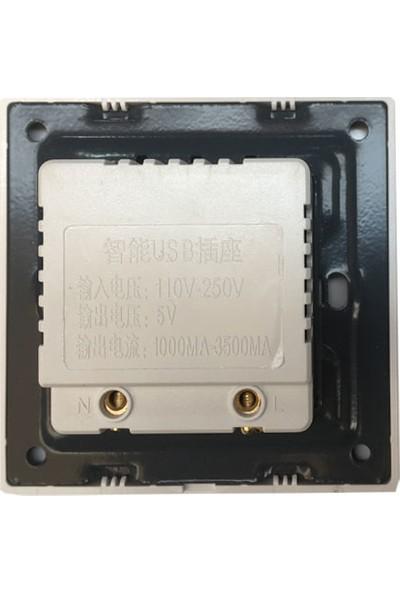Platoon USB 2 Li Duvar Tipi Sıva Üstu USB Priz 5V 1000MA/3500MA