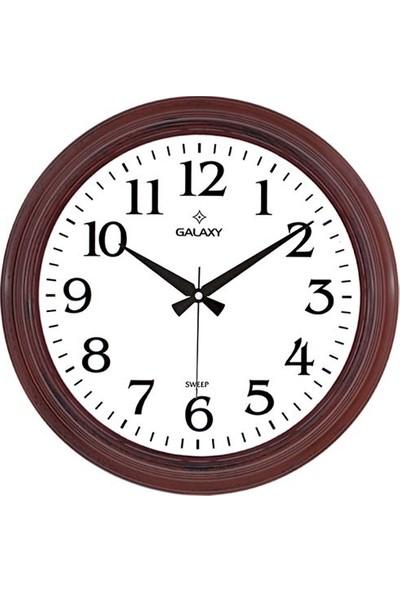 Galaxy 1962-F Premium Büyük Büro Kahverengi Duvar Saati 46 cm