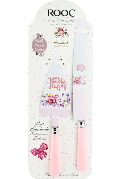 Rooc Çiçek Desenli (Pembe) Pasta Bıçağı ve Spatulası Servis Seti