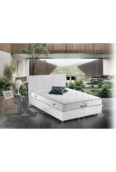 Vize Mobilya 150 x 200 cm Beyaz Deri Solit Baza + Fony Ortapedi Yatak + Ekol Başlık Set
