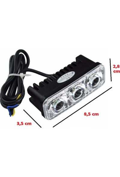 RTD Universal Çakarlı LED Motosiklet Sis Farı 3'lü