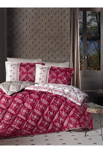 Clasy Saten Çift Kişilik Uyku Seti Ivore Kırmızı