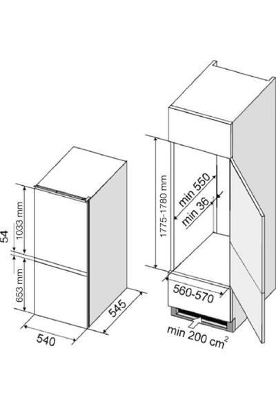 Dominox DBF 22/100 B S A+ T Ankastre Buzdolabı Kombi