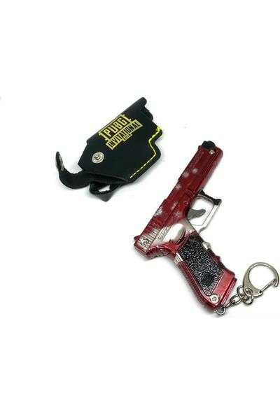 Gamerloot Deri Kılıflı Tabanca Metal Anahtarlık - Tetiği Basmalı - Kırmızı