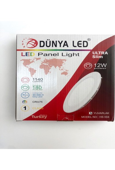 Dünya LED 12W Panel LED Spot Yuvarlak Renk:7000K