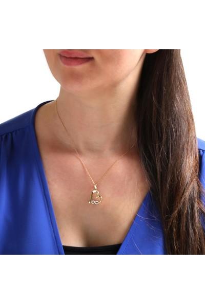 Myra Gold Kenarı Sonsuzluk Detaylı Altın Kalpli Kolye (Kly3385)