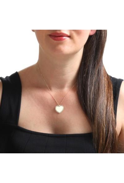 Myra Gold Ortasına İsim Yazılabilir Altın Kalp Kolye (Kly3458)