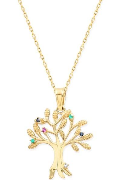 Myra Gold Altın Soy Ağacı Tasarımlı Kolye (Kly3482)