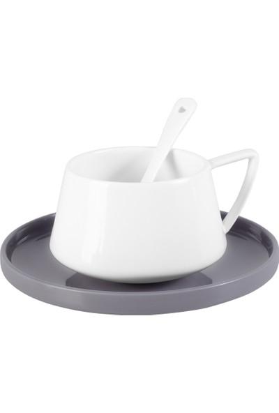 Emsan Parla 32 Parça 6 Kişilik Kahvaltı Takımı Gri Beyaz
