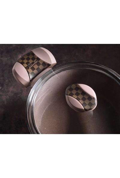 Brioni Pro Stone 22 cm Derin Granit Tencere Kahverengi