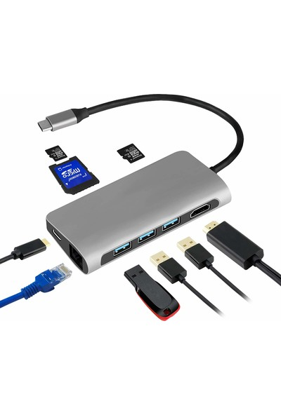 Mobitell Type-C 8 in 1 Multiport Alüminyum Rj-45 Ethernet - 3 Port USB 3.0 Hub HDMI Dönüştürücü
