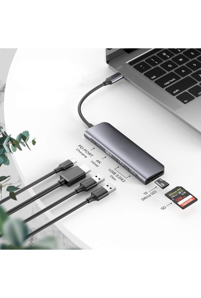 Mobitell Type-C Hub 6 In 1 Tip C HDMI 4 K, 2 USB 3.0 Port, Sd Tf Kart Okuyucu, 100 W Pd Şarj Adaptörü Dock Station