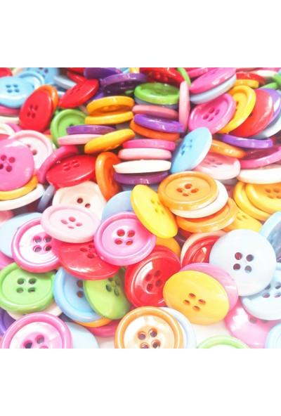 Byozras Renkli Akrilik Yuvarlak Düğme 50 li Paket