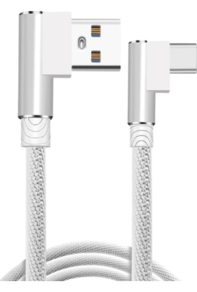 Judas Type-C 90 Derece Hızlı Şarj Kablosu 1 mt - Beyaz