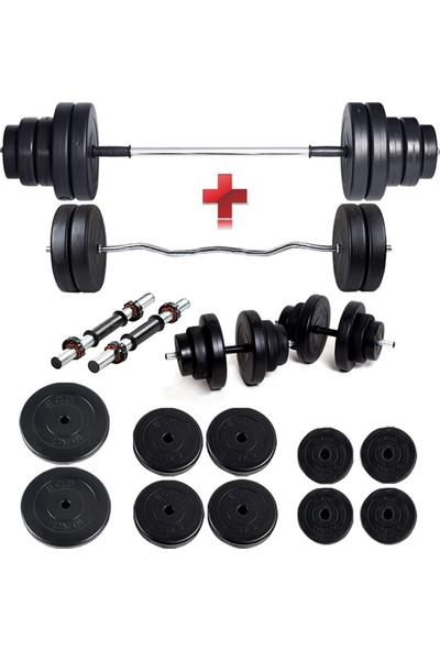 Ecgspor 58 kg Z Bar Halter Seti ve Dambıl Seti Ağırlık Fitness Seti