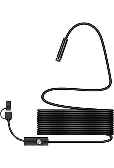 Platoon Yılan Kamera 3 In 1 Endoskopi Kamerası Type C-Mikro USB Pc Kamera 2 m