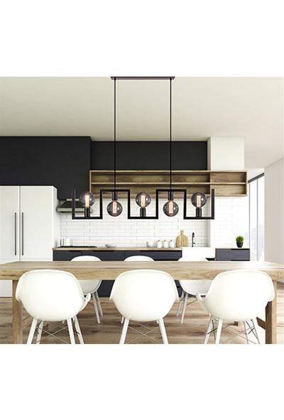 Tsd Dekorasyon Modern Metal Yemek Masası Lambası Siyah Çerçeve Asılı