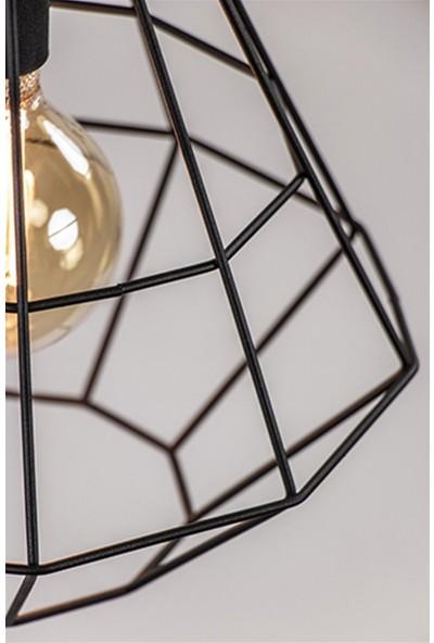 Tsd Dekorasyon Yemek Masası Asılı Lamba Pırlanta Siyah 3-Lights