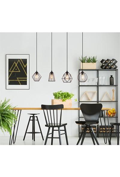 Tsd Dekorasyon Yemek Masası Tel Asılı Lamba Siyah 4 Işıklı