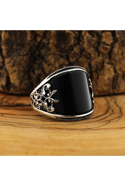 Hanzade Gümüş 925 Ayar Gümüş Siyah Zirkon Taşlı Erkek Yüzük