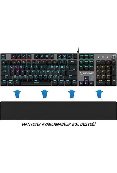 Rampage KB-R28 Blade Plus Siyah/Gümüş RGB Blue Switch Mekanik Oyuncu Klavye