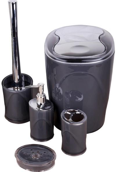 Kardelen Indecor 5 Parça Akrilik Banyo Seti Siyah