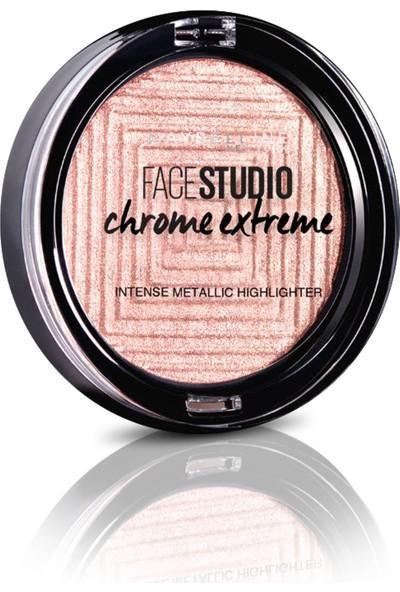 Maybelline New York Face Studio Chrome Extreme Metalik Aydınlatıcı Pudra - 350 Molten Rose Gold