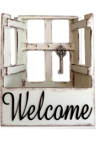 Evim Tatlı Evim El Yapımı Ahşap Anathar Dolabı Welcome