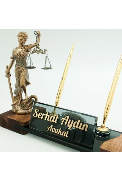 Promofis Avukata Özel Adalet Heykeli Masif Ayak Masa İsimliği