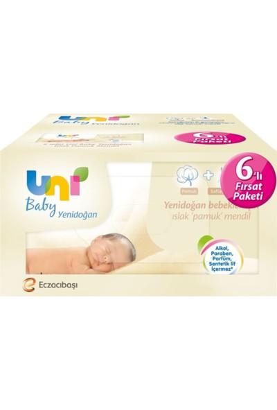 Uni Baby Yenidoğan Islak Pamuk Mendil Fırsat Paketi 6'lı