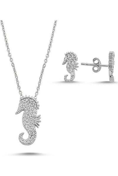 Angemiel 925 Gümüş Zirkon Taşlı Denizatı Set
