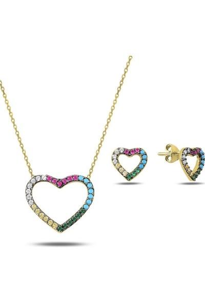 Angemiel 925 Gümüş Karışık Renk Zirkon Taşlı Kalp Set