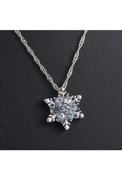 Avantajewellery Kristal Gök Mavisi Taşlı Kar Tanesi Bayan Kolye