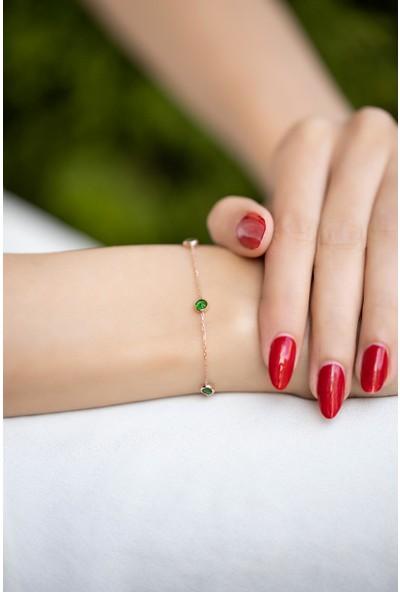 İzla Design 5460 Zümrüt Taşlı Rose Kaplama Gümüş Bileklik