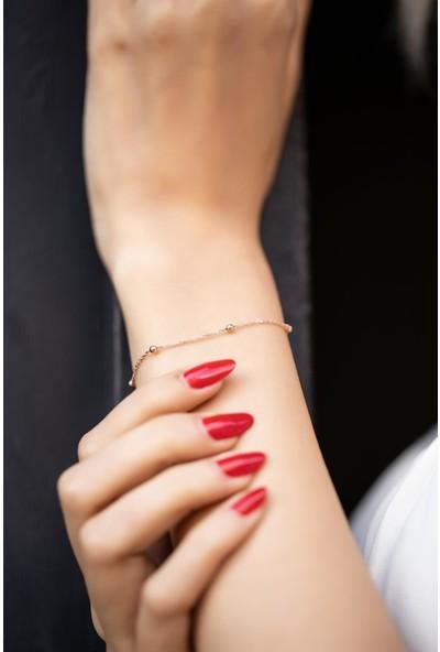 İzla Design 5466 Top Model Rose Kaplama Gümüş Zincir Bileklik
