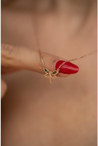 İzla Design 5537 Yusufçuk Model Mix Taşlı Rose Kaplama Gümüş Kolye