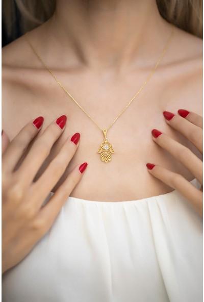 İzla Design 5563 Fatma Ana Eli Model Zirkon Taşlı Altın Kaplama Gümüş Kolye