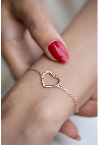 İzla Design 5591 Kalp Model Zirkon Taşlı Rose Kaplama Gümüş Bileklik
