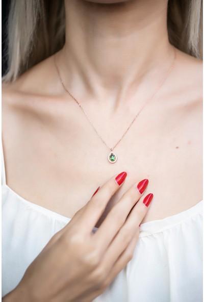 İzla Design 5597 Damla Model Zümrüt Taşlı Rose Kaplama Gümüş Kolye