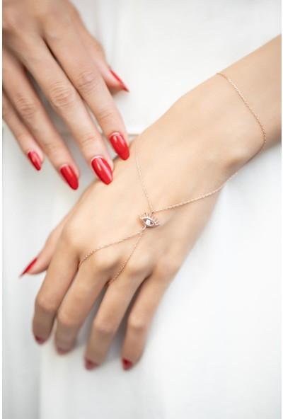 İzla Design 5829 Göz Model Turkuaz Taşlı Rose Kaplama Gümüş Şahmeran