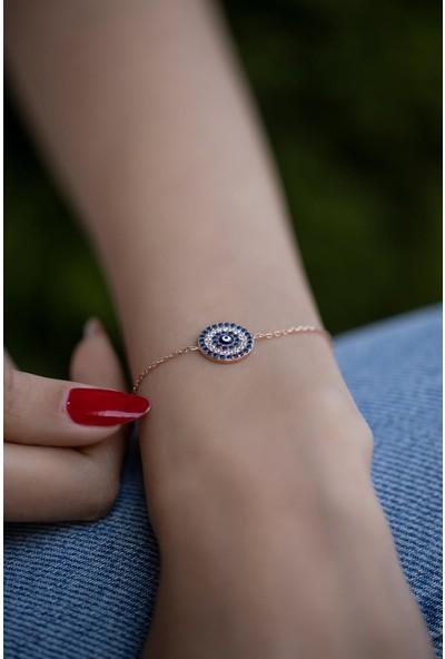 İzla Design 5895 Yuvarlak Model Nazarlık Rose Kaplama Gümüş Bileklik