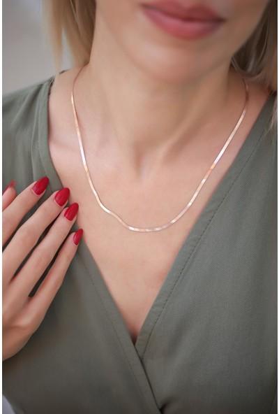İzla Design Yassı Model Rose Kaplama Gümüş İtalyan Zincir
