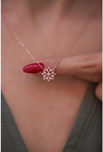 İzla Design Kar Tanesi Model Zirkon Taşlı Rose Kaplama Gümüş Kolye