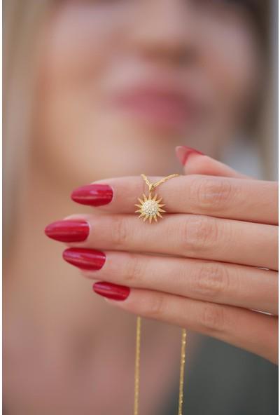 İzla Design Güneş Model Altın Kaplama Zirkon Taşlı Gümüş Kolye